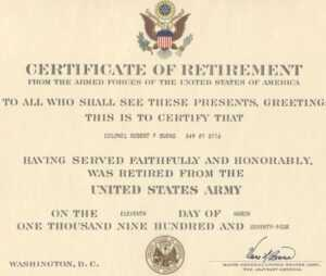 Major Robert F. Burns – Army Retirement Certificate for Army Certificate Of Appreciation Template
