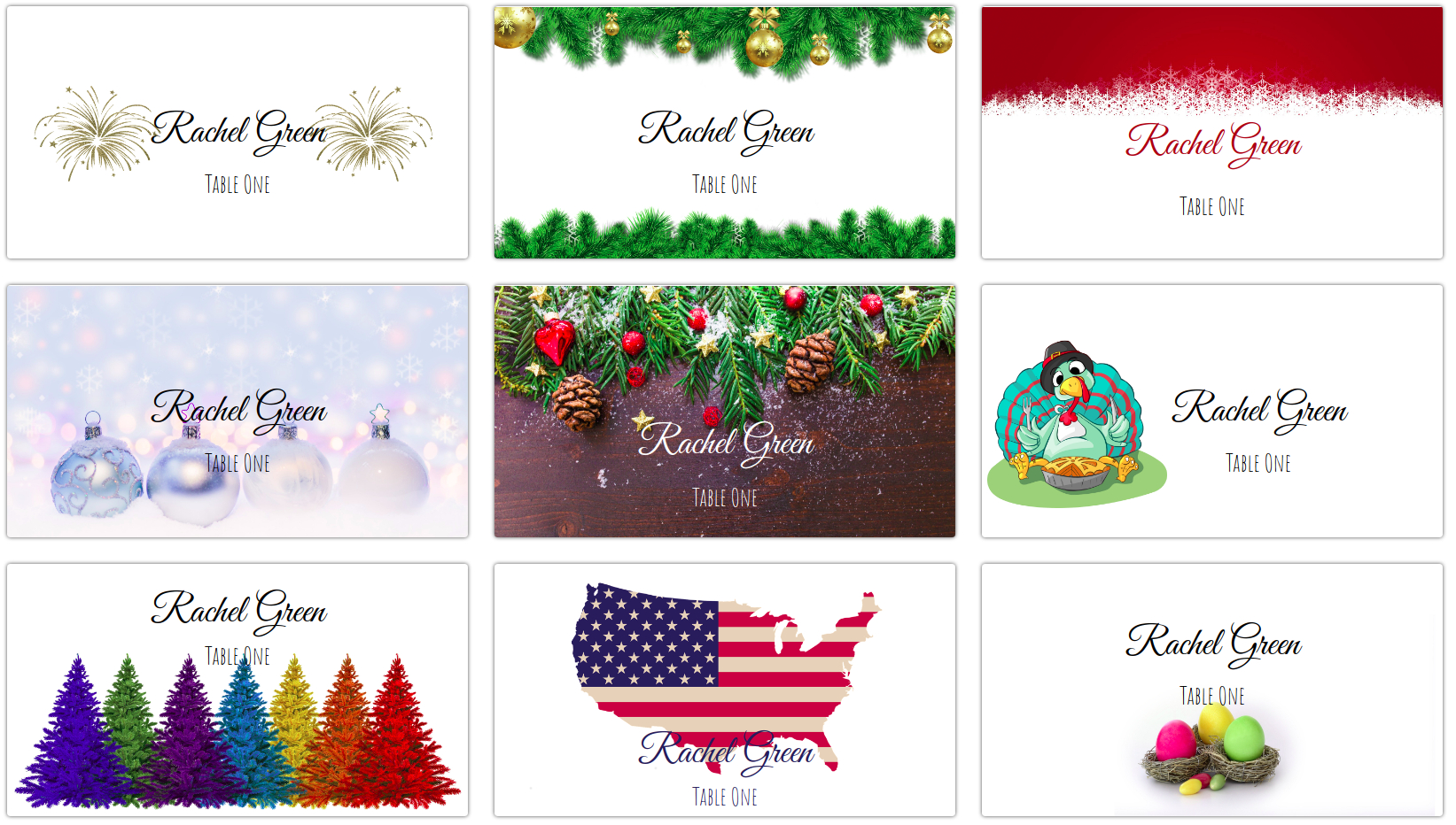 Making Your Own Holiday Place Cards At Home | Place Card Me For Christmas Table Place Cards Template