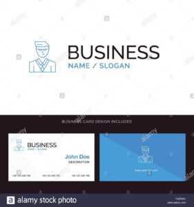 Man, User, Manager, Student Blue Business Logo And Business for Student Business Card Template