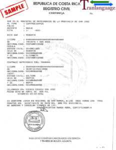 Marriage Certificate Costa Rica with Marriage Certificate Translation Template