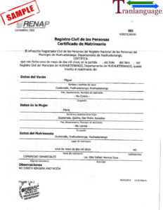 Marriage Certificate Guatemala with Death Certificate Translation Template
