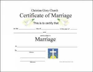 Marriage Certificate Template – Certificate Templates for Blank Marriage Certificate Template