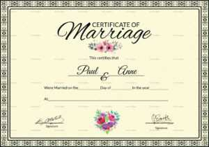 Marriage Certificate Template With Certificate Of Marriage Template