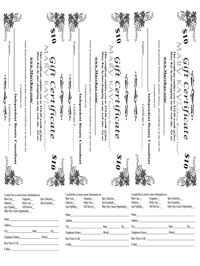 Mary Kay Gift Certificate - Fill Online, Printable, Fillable Intended For Mary Kay Gift Certificate Template
