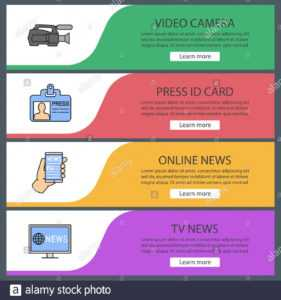 Mass Media Web Banner Templates Set. Video Camera, Press Id inside Media Id Card Templates