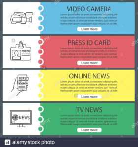 Mass Media Web Banner Templates Set. Video Camera, Press Id intended for Media Id Card Templates