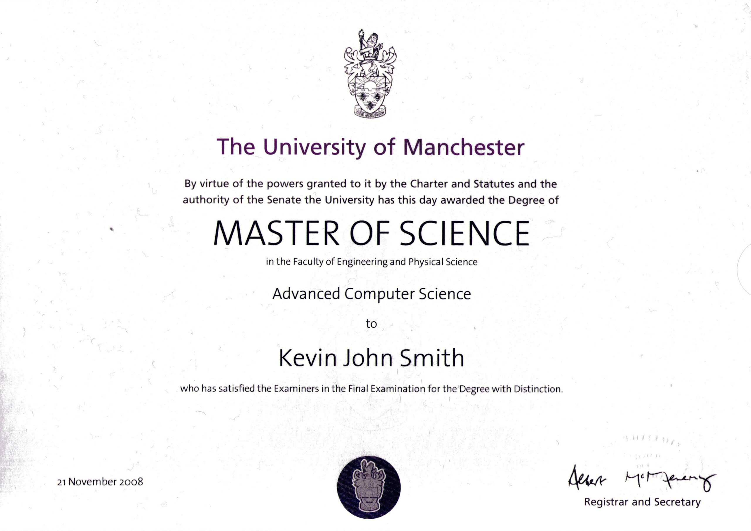 Masters Degree Certificate Template Awesome Templates Free In Masters Degree Certificate Template