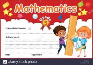 Mathematics Diploma Certificate Template Illustration Stock inside Math Certificate Template