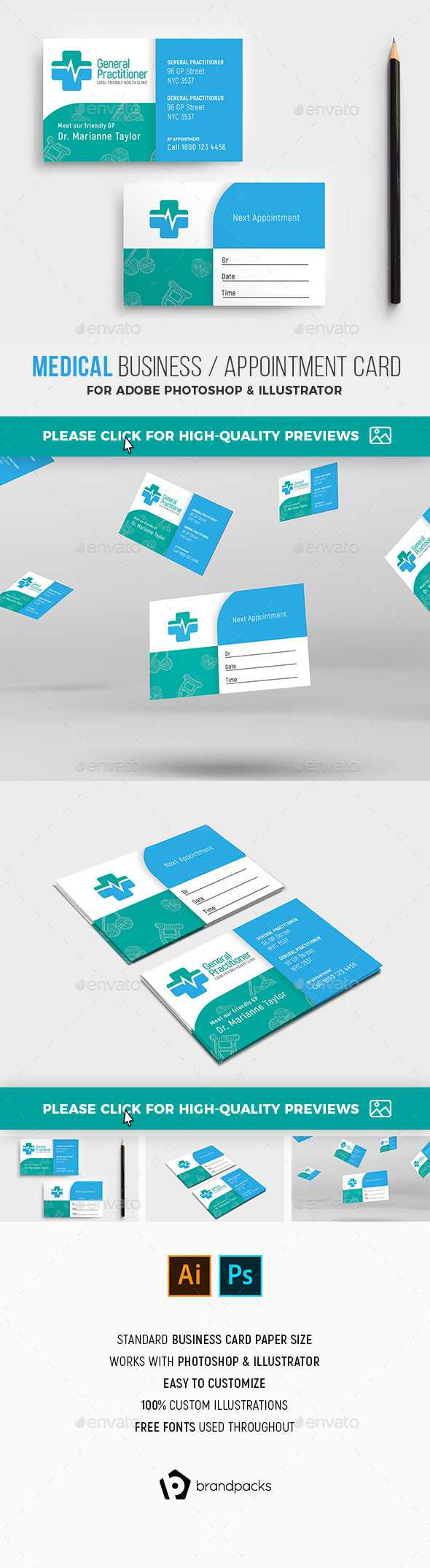 Medical Business Card Templates & Designs From Graphicriver For Med Card Template