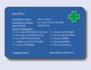 Medipal – Medical Emergency Card Shows Prescription Details in Medical Alert Wallet Card Template