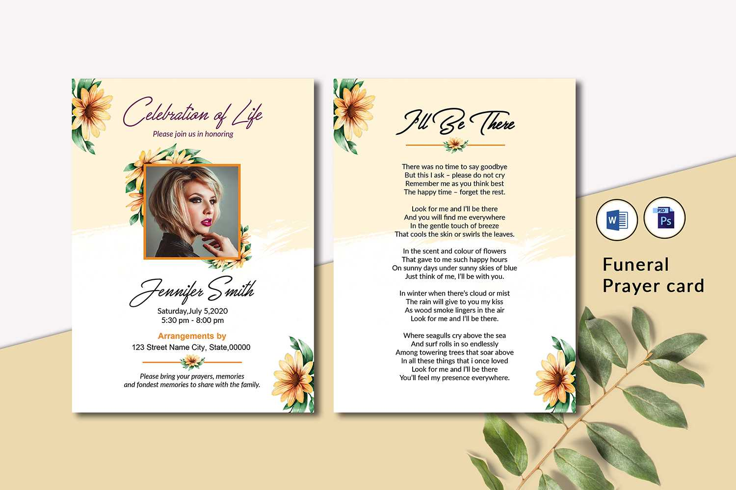 Memorial Funeral Prayer Card Template For Memorial Card Template Word
