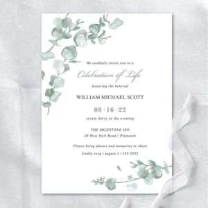 Memorial Service Invitation Templates Eucalyptus Greenery throughout Celebrate It Templates Place Cards