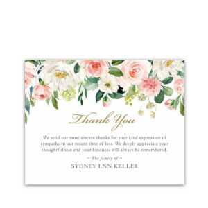 Memorial Thank You Card Template For Funerals Blush Template inside Sympathy Thank You Card Template