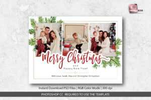 Merry Christmas Card Template within Christmas Photo Card Templates Photoshop