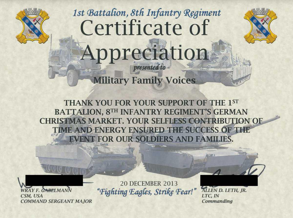 Military Certificate Of Appreciation Template ] - Army With Army Certificate Of Appreciation Template