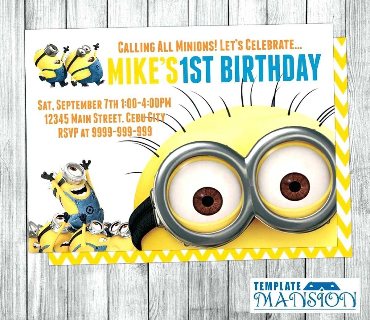 Minion Birthday Invitations Print Card Free Template 3D Pertaining To Minion Card Template