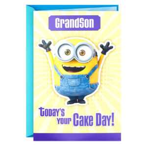 Minions Birthday Card Despicable Me Grandson Mind Blowing within Minion Card Template