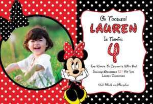 Minnie Mouse Photo Invitation Card Template for Minnie Mouse Card Templates