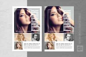 Modeling Comp Card Template in Free Model Comp Card Template Psd