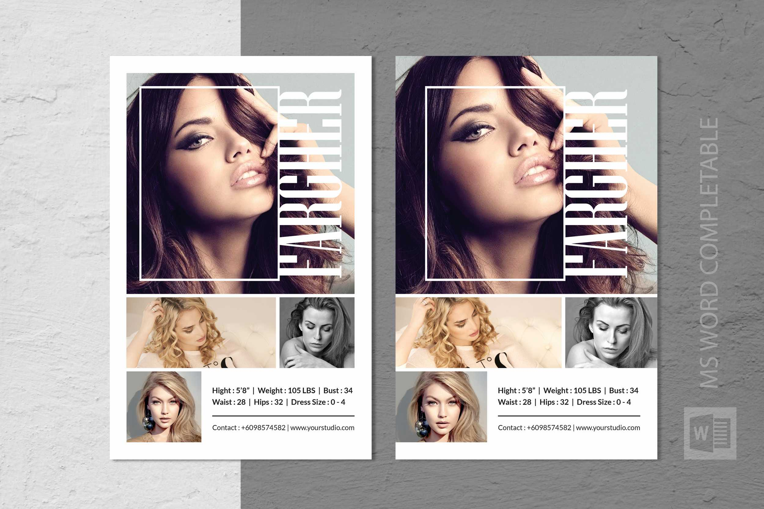 Modeling Comp Card Template Inside Free Model Comp Card Template