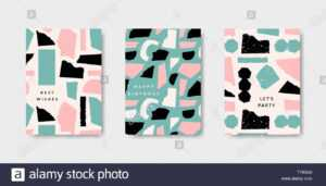 Modern And Playful Greeting Card Templates With Paper Cut within Birthday Card Collage Template