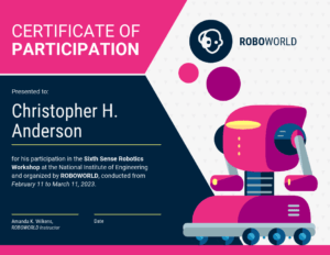 Modern Certificate Of Participation Template in Certificate Of Participation In Workshop Template