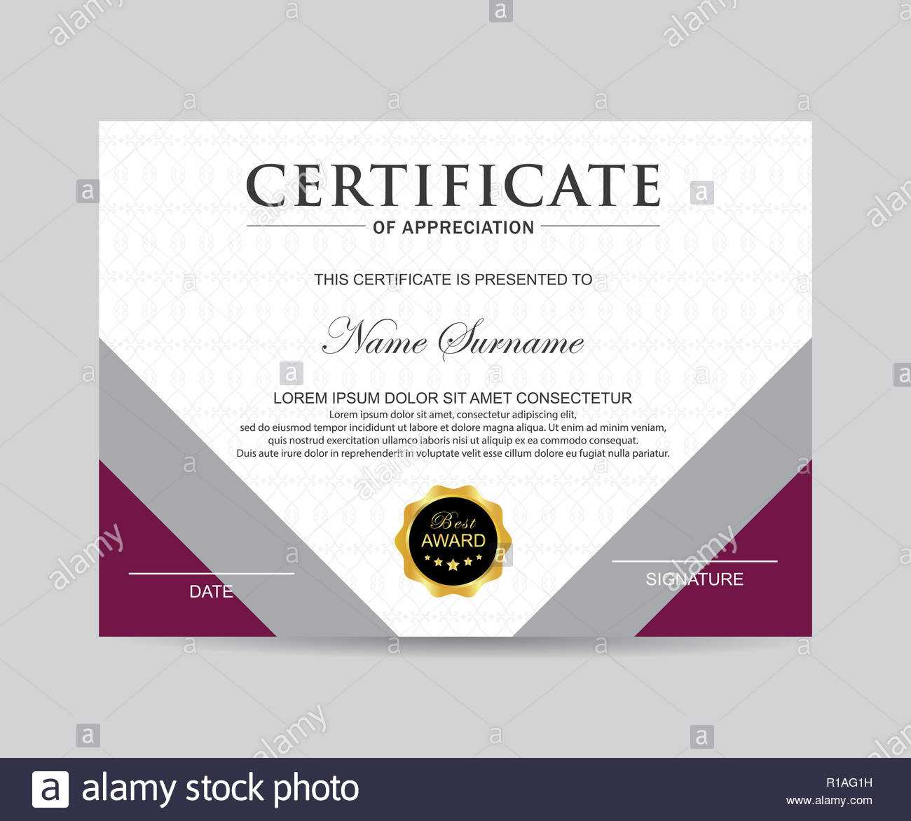 Modern Certificate Template And Background Stock Photo Throughout Borderless Certificate Templates