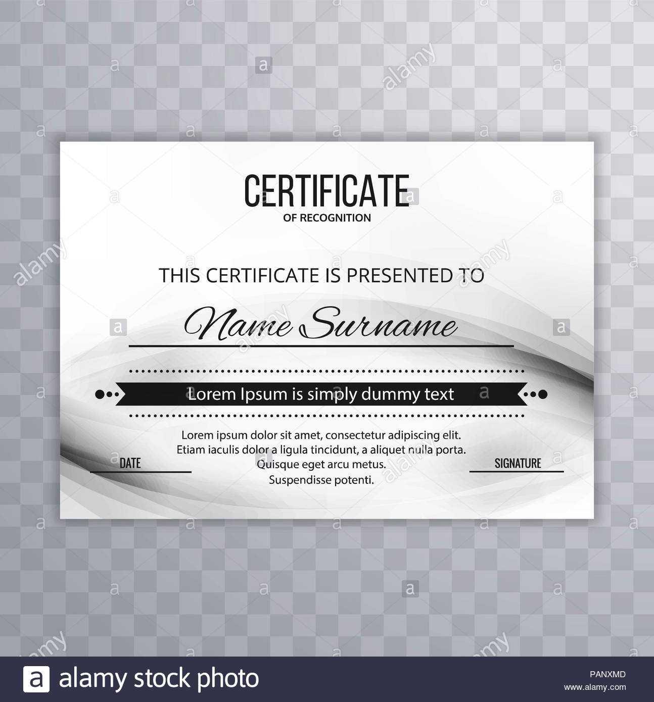 Modern Certificate Template Design Stock Photo: 213152925 Throughout Borderless Certificate Templates