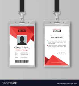 Modern Id Card Template With Abstract Red regarding Conference Id Card Template