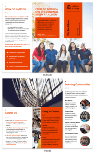 Modern Orange College Tri Fold Brochure Template intended for Training Brochure Template