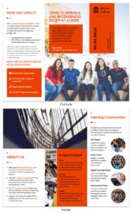 Modern Orange College Tri Fold Brochure Template with Tri Fold School Brochure Template