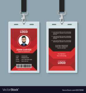 Modern Red And Black Id Card Template with Id Card Template Ai