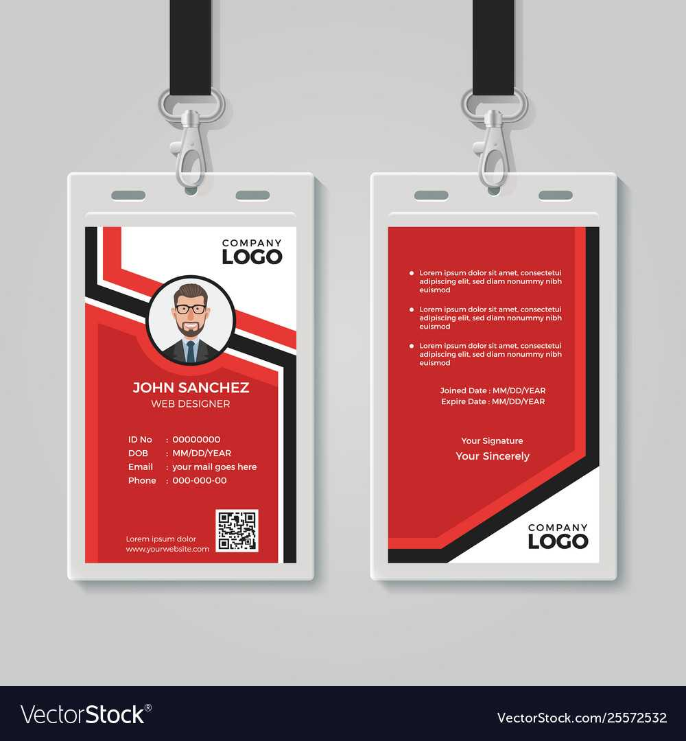 Modern Red Id Card Template Throughout Id Card Template Ai