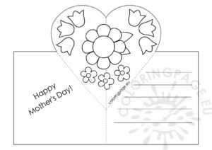 Mothers Day Card With Heart Pop-Up Template – Coloring Page with Free Printable Pop Up Card Templates