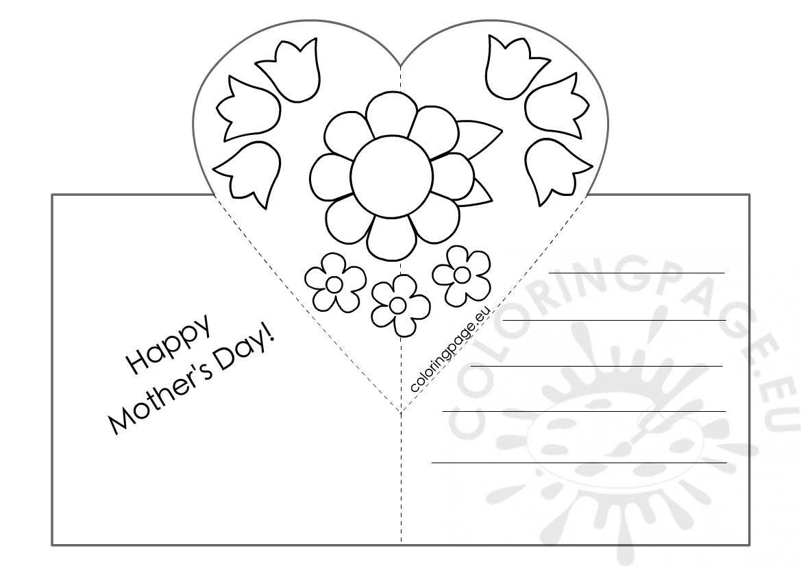 Mothers Day Card With Heart Pop Up Template – Coloring Page With Mothers Day Card Templates