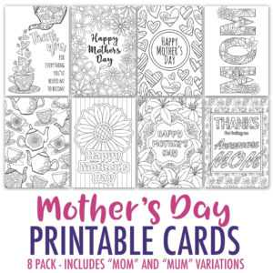 Mother's Day Coloring Cards | 8 Pack throughout Mothers Day Card Templates