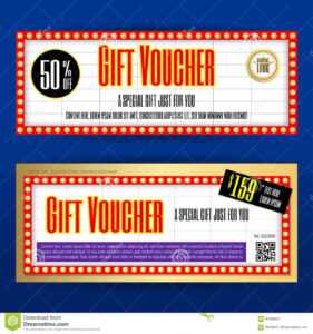 Movie Ticket Sign Theme Gift Voucher Or Gift Coupon Template inside Movie Gift Certificate Template