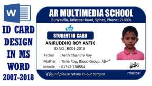 Ms Word Tutorial: How To Make Easy Student Id Card Design In Ms Word  2016|Two Part Id Card Design throughout Teacher Id Card Template