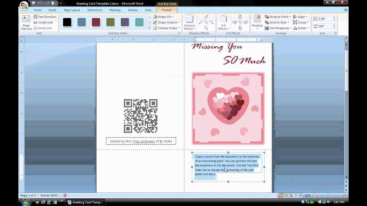 Ms Word Tutorial (Part 1) - Greeting Card Template, Inserting And  Formatting Text, Rotating Text Intended For Birthday Card Template Microsoft Word