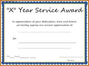 Multi-Year Service Award Certificate Template in Certificate Of Service Template Free
