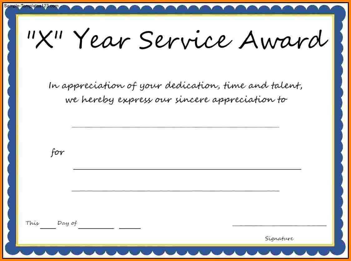 Multi Year Service Award Certificate Template With Regard To Certificate For Years Of Service Template