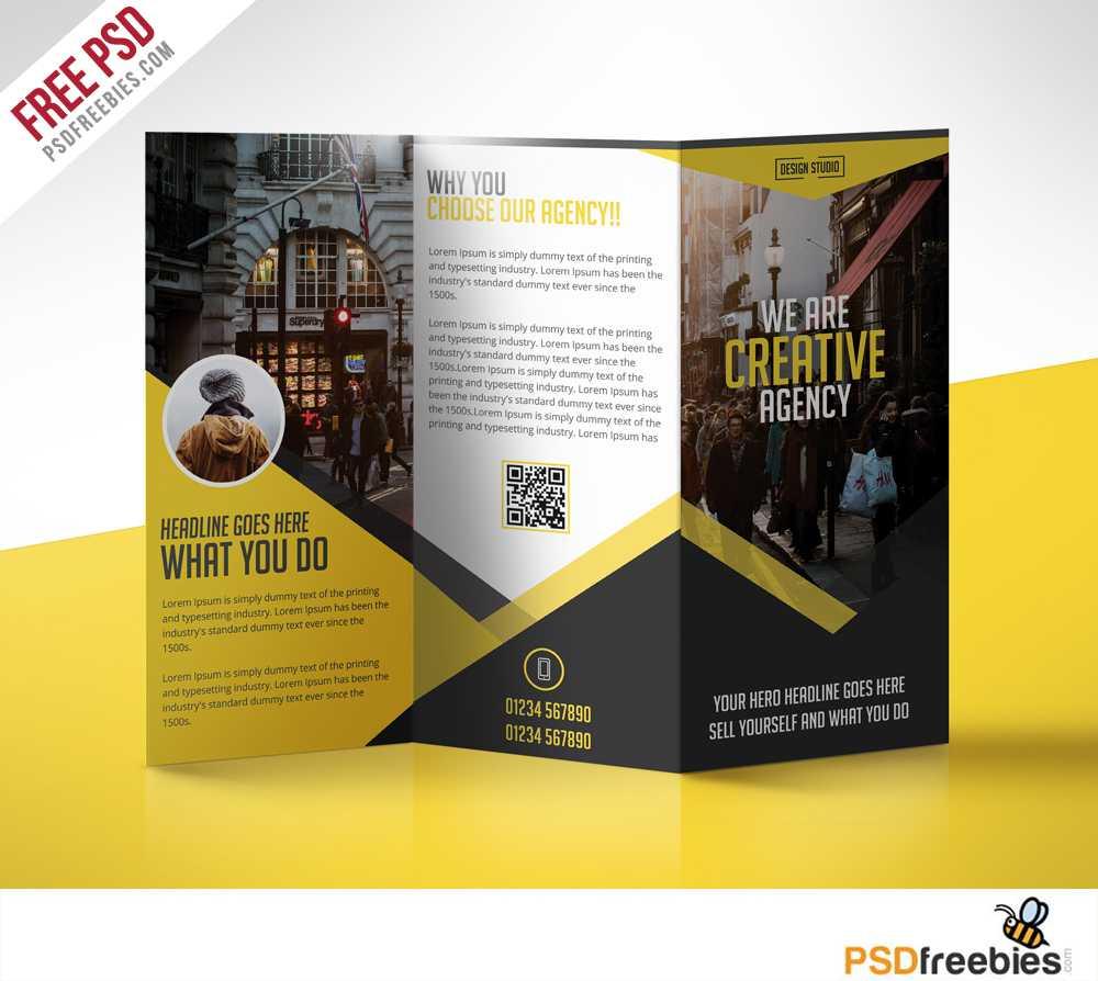 Multipurpose Trifold Business Brochure Free Psd Template In 3 Fold Brochure Template Psd Free Download