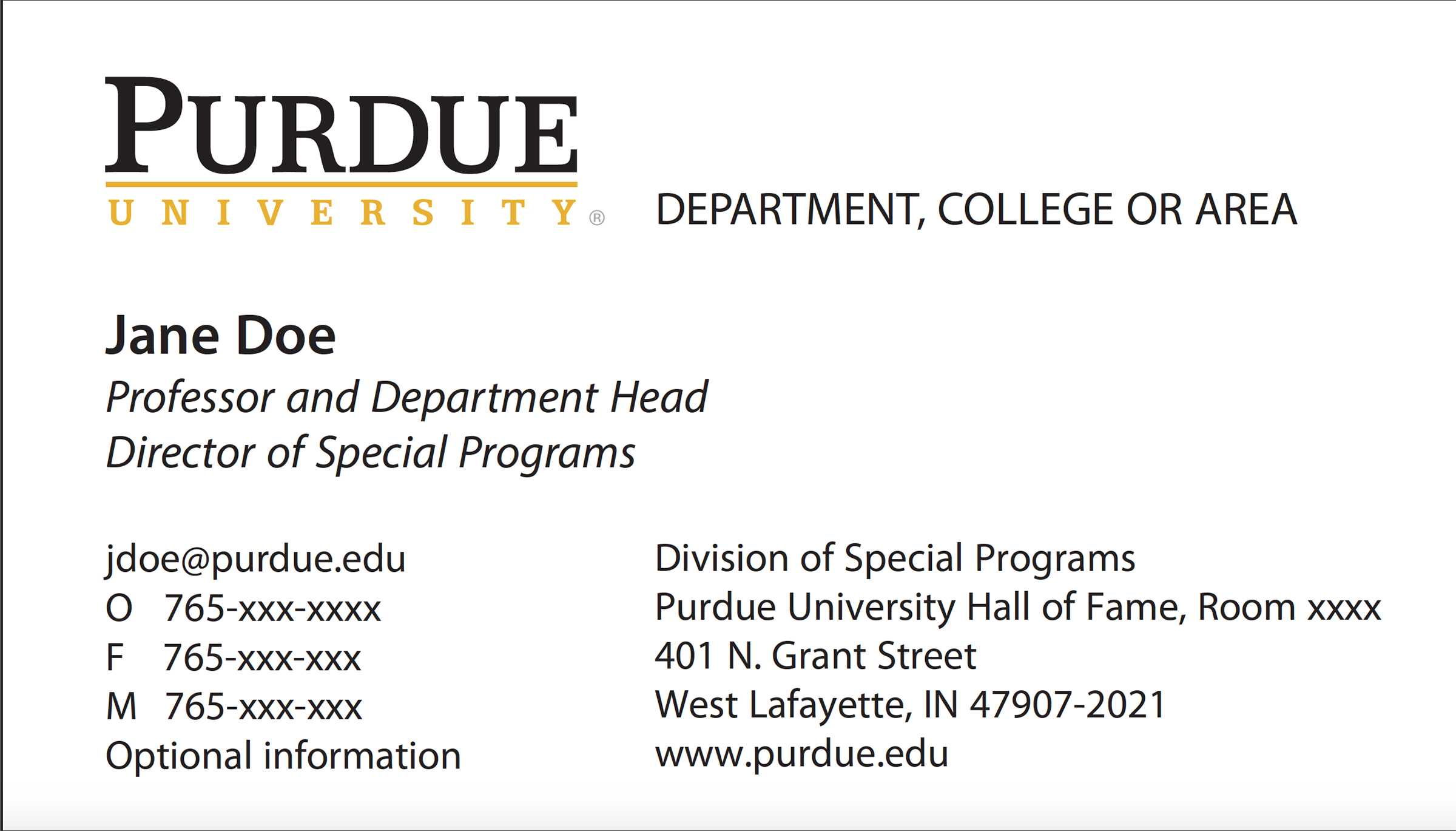 New Business Card Template Now Online - Purdue University News Within Graduate Student Business Cards Template
