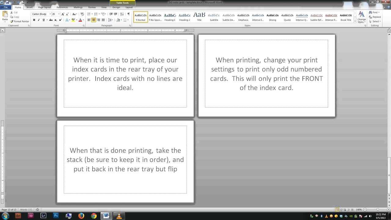 Note/index Cards - Word Template Inside Word Cue Card Template