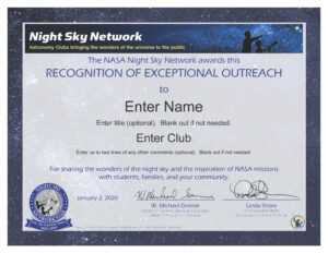 Nsn Astronomy Outreach Award Certificate (For Service In inside Borderless Certificate Templates