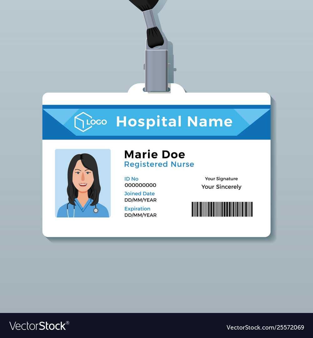 Nurse Id Card Medical Identity Badge Template With Regard To Hospital Id Card Template