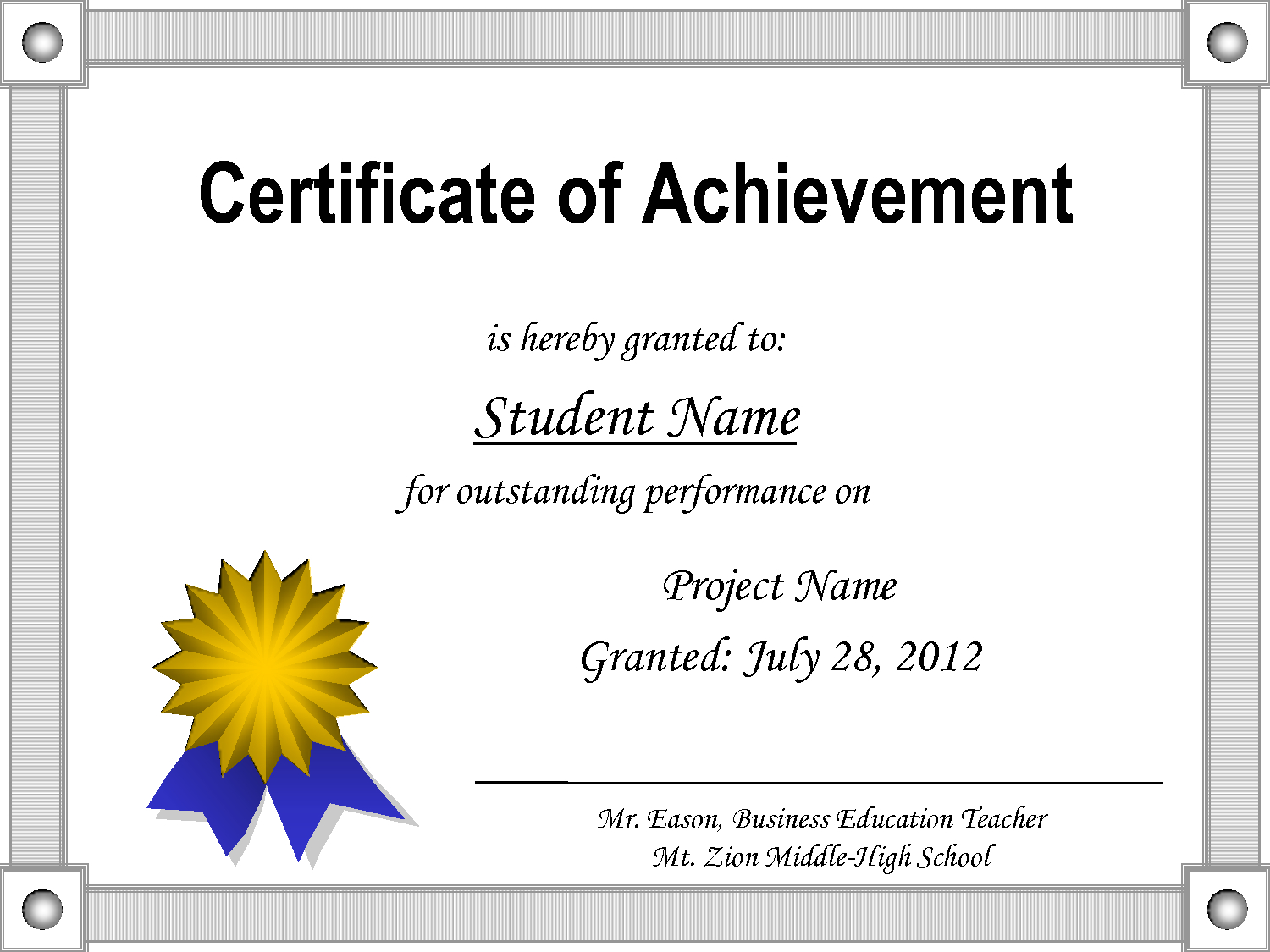 Of Achievement Template With Award Certificate Templates Word 2007