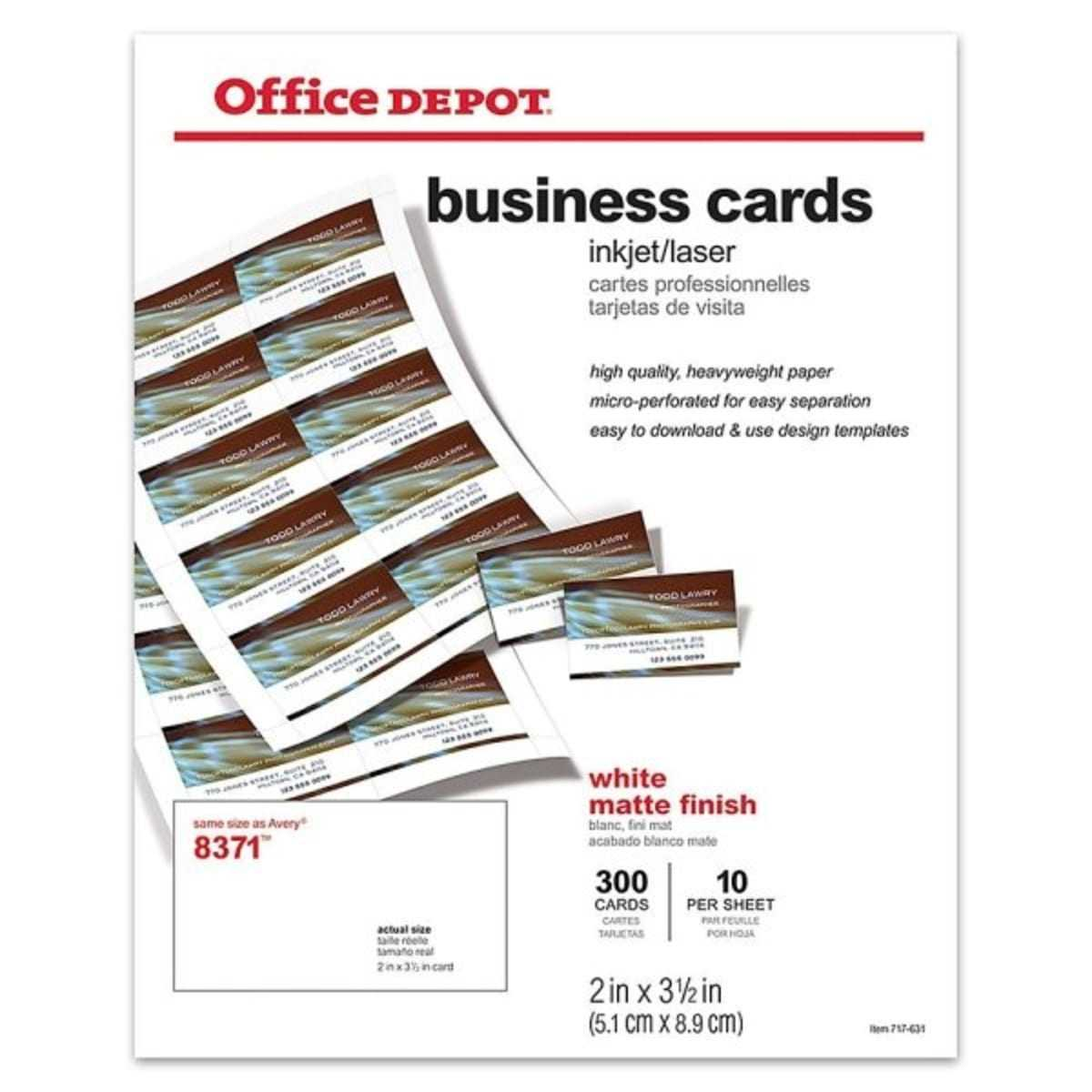 Office Depot® White Matte Business Card 2 X 3 1/2Inch Regarding Office Depot Business Card Template