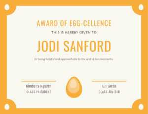 Orange Egg Funny Certificate – Templatescanva throughout Funny Certificate Templates