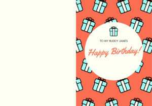 Orange Teal Gift Present Birthday Funny Friend Folded Card in Foldable Birthday Card Template